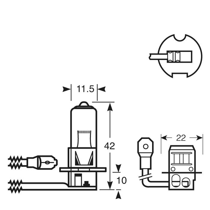 Neolux N460 H3 24v Halogen Car Bulb Single Head Light Standard