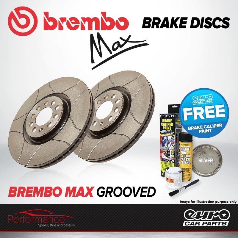 Details About Brembo Max Rear Solid High Carbon Grooved Brake Disc Pair Discs X2 08 7165 75
