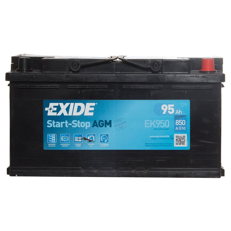 exide agm gel car battery 12v 95ah type 019 850cca 3 years. Black Bedroom Furniture Sets. Home Design Ideas