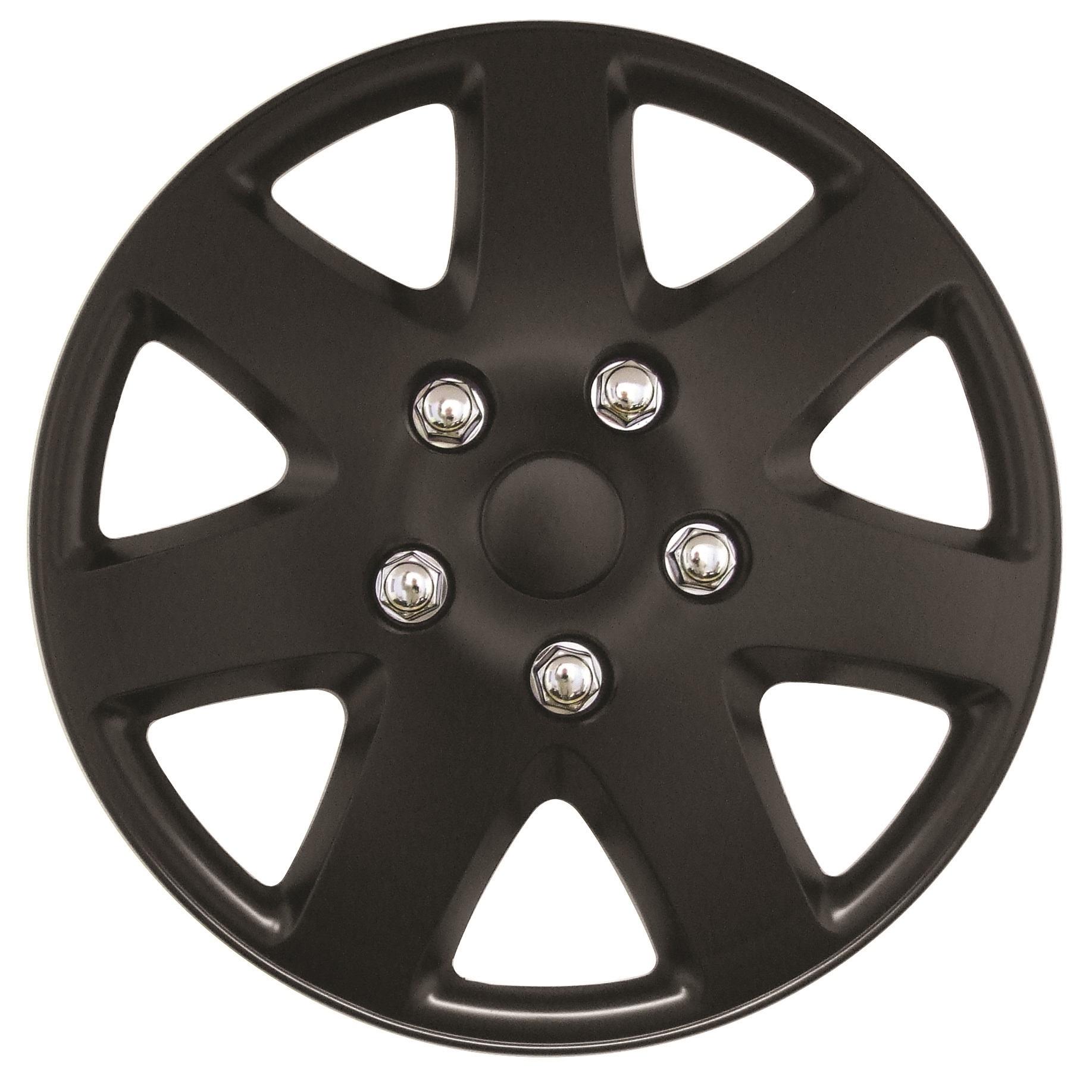 Details about Streetwize Tempest 15 Inch Wheel Trim Set Matt Black Set of 4 Hub Caps Covers