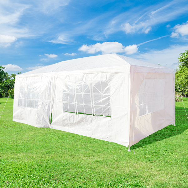 Party Garden Tent Gazebo White Large 4 Sided Closed All Corners By